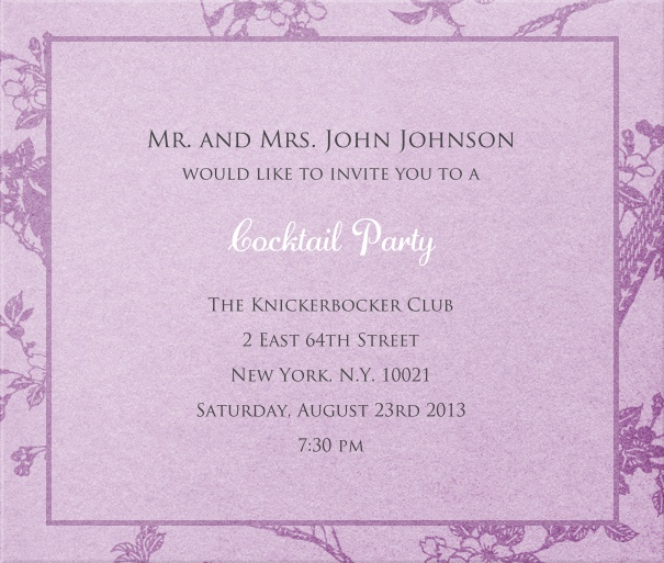 Purple, classic Wedding Party Invitation with floral background.