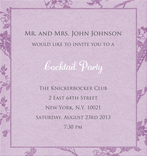 Purple, classic Party Invitation Card with floral background.