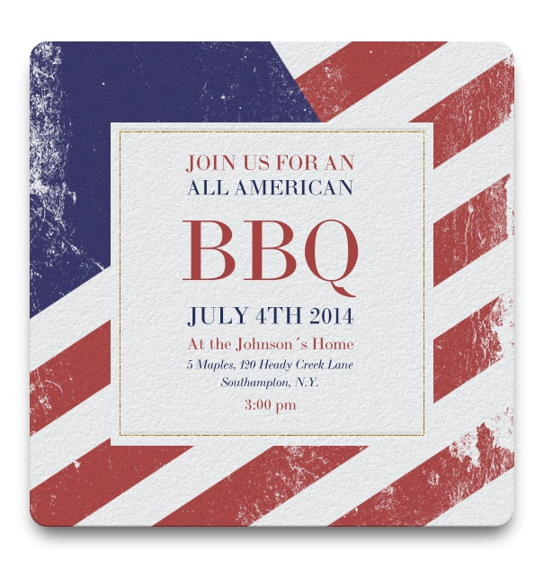 Fourth of July BBQ Invitation with American Flag Background.