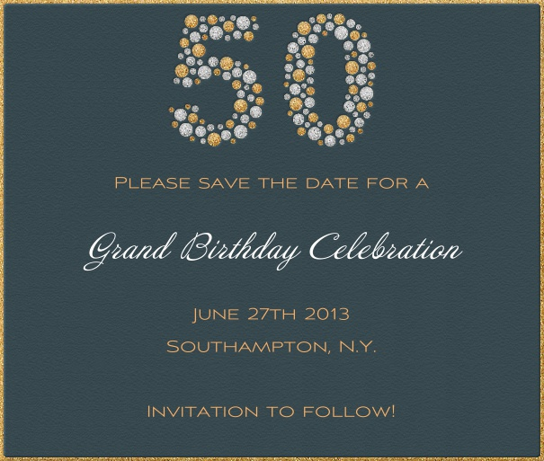 Square Grey 50th Anniversary Save the Date Card designed online.