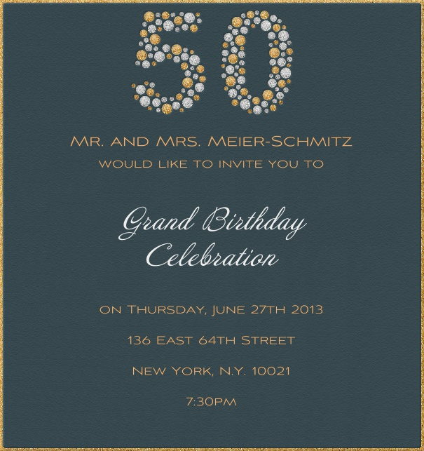 High Format Aqua 50th Birthday Invitation Card Or Anniversary With Gold Border