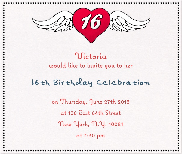 Square Beige Sweet Sixteen Invitation Or Birthday Card With Heart And Wings