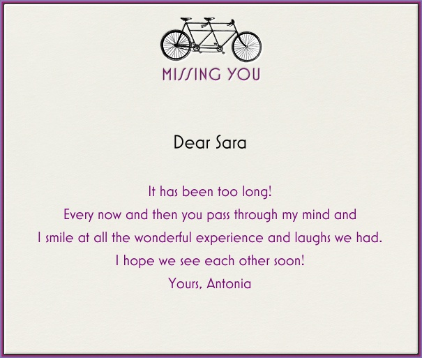 Tan Care and Sympathy Card with Purple Frame and Bicycle.