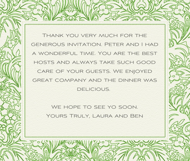 White Classic Wedding Card with Green Floral Frame.