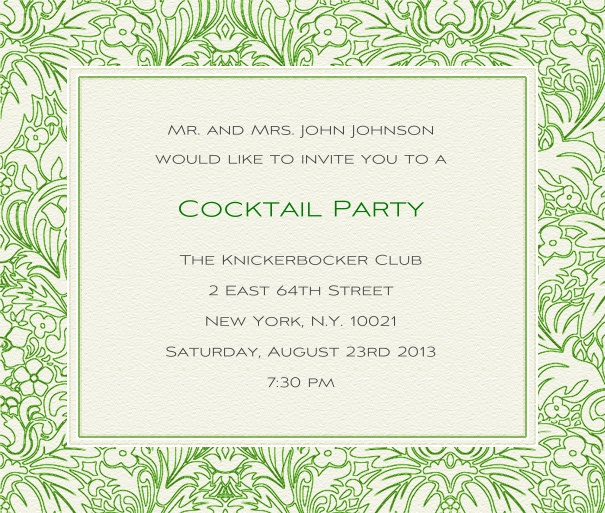 White, classic Wedding Invitation with green floral border.