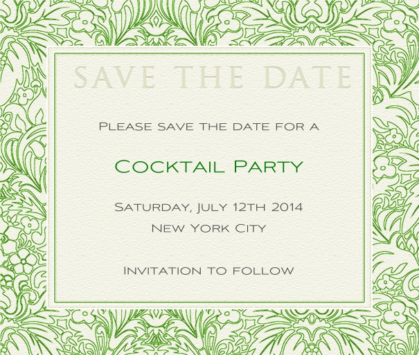 White Classic Chic Wedding Save the Date Design with green floral border.