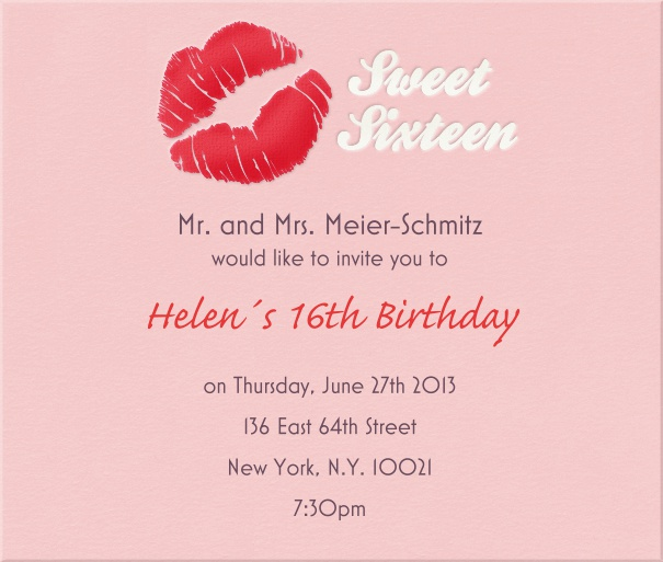 Square Sweet Sixteen Invitation or Birthday Invitation with Pink Kiss.