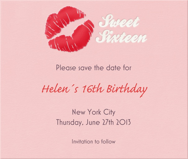 Pink Sweet Sixteen Party Save the Date card with Kiss.