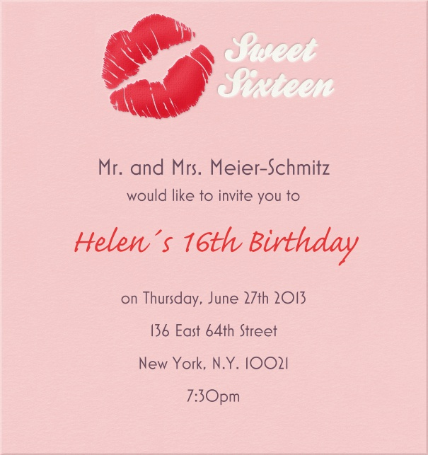 High Format Sweet Sixteen Invitation or Birthday Invitation with Pink Kiss.
