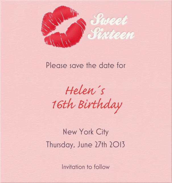 Pink Sweet Sixteen Birthday Party Save The Date Card With Kiss