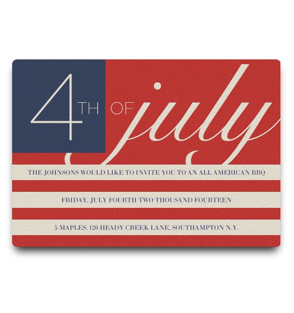Fourth Of July Invitation with American Flag Theme.