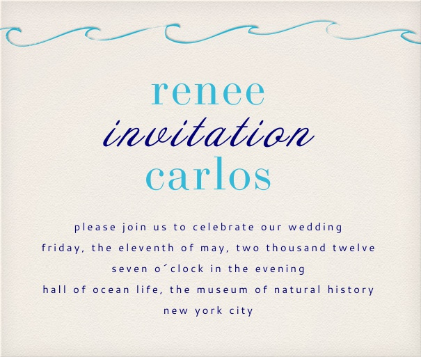 Party Invitation Card with wave design and editable text.
