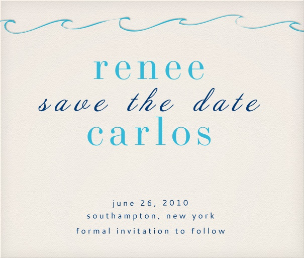 Save the Date Card for weddings with blue wave design.