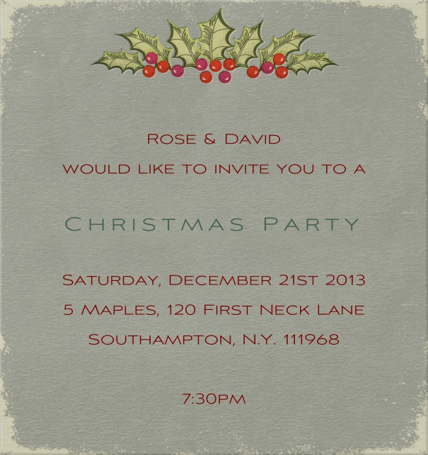 Grey Christmas high format invitation card with Christmas decoration in top part of card. Including designed text in green and red to match the card.