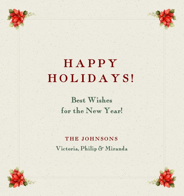Holiday's Card with Happy Holiday text and floral border.