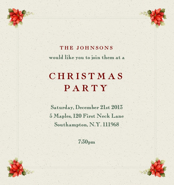 Beige Christmas Party Invitation with holly bouquets on corners customizable online.