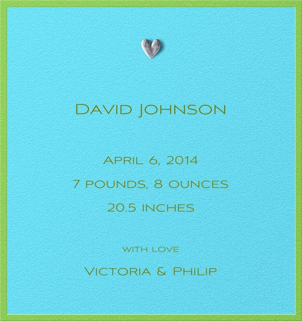Birth Announcement Card online with Silver Heart and green border.