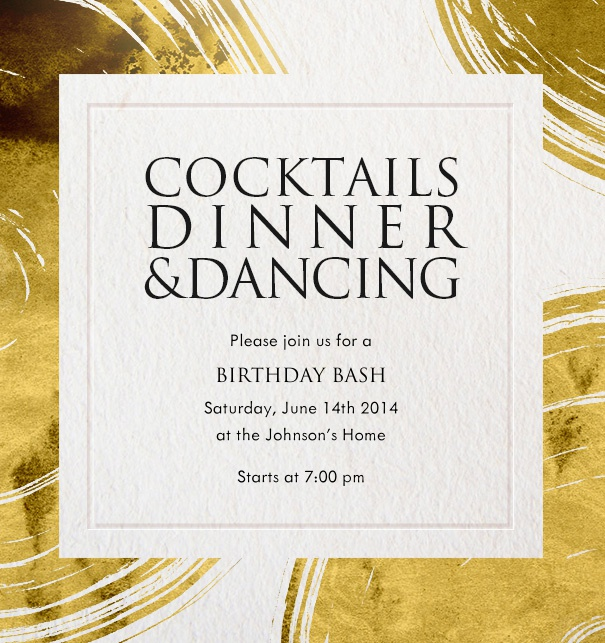 Online Invitation with golden plates and a framed center for text for celebrations and customizable text.