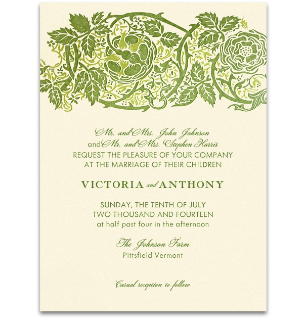 Beige Formal Wedding Invitation with Green forest border and green font.