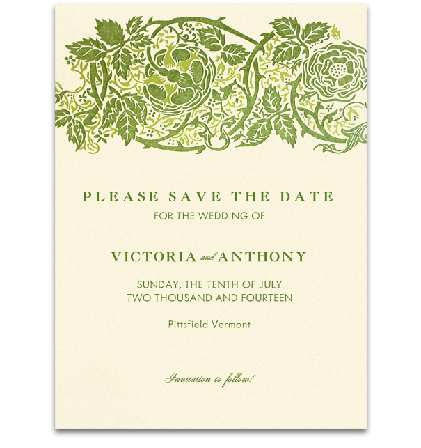 Beige Formal Wedding Save the Date online designed by Pink Orange with Green forest border and green font.