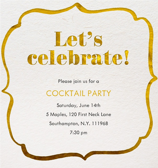 Online Cocktail Invitation with a golden decoration around it and customizable text.