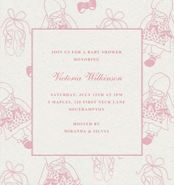 Bows dolls baby shower baby shower pink childrens birthday invitation with child background filmwisefo