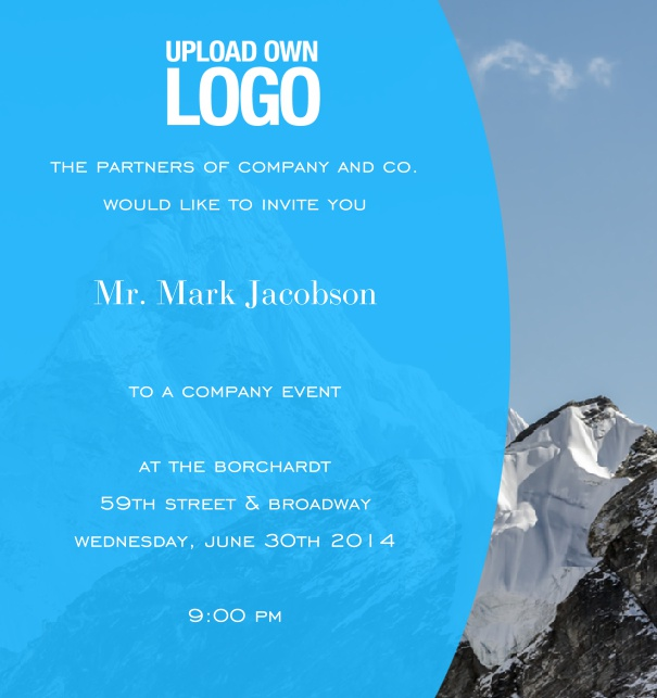 Online Corporate Invitation for Company Event with customizable background and light blue text field.