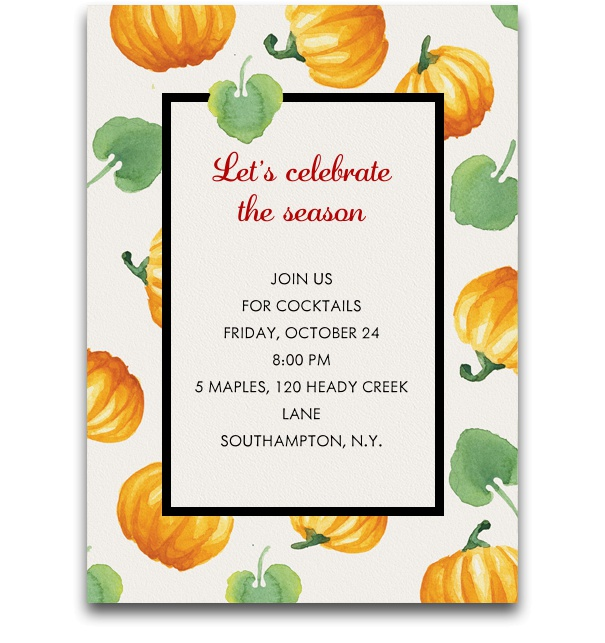 Online Thanksgiving invitation card with pumpkins.