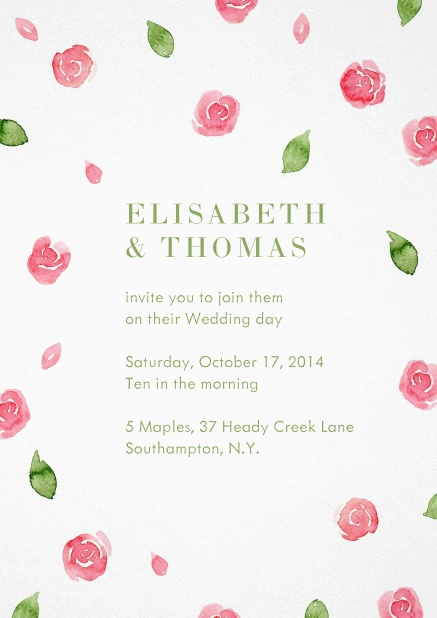 Wedding invitation card with red roses and green leaves.