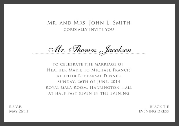 Online white classic invitation card with red border and name of recipient. Black.