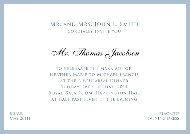 Online white classic invitation card with red border and name of recipient. Blue.