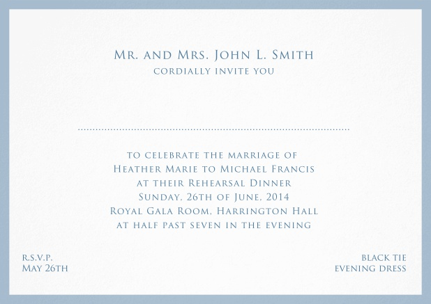 Card with frame and place for guest's names - available in different colors. Blue.