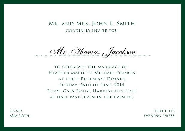 Online white classic invitation card with red border and name of recipient. Green.