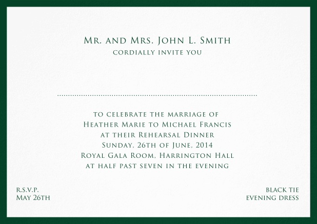 Card with frame and place for guest's names - available in different colors. Green.
