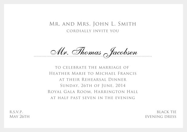 Online white classic invitation card with red border and name of recipient. Grey.