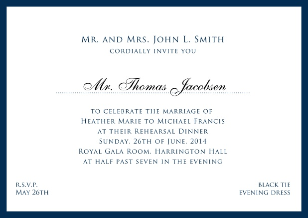 Online white classic invitation card with red border and name of recipient. Navy.