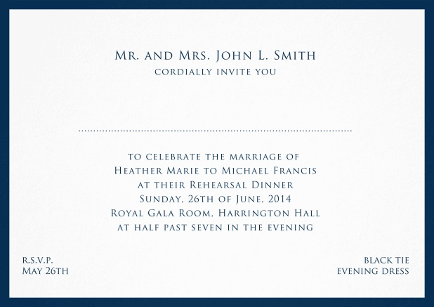 Card with frame and place for guest's names - available in different colors. Navy.