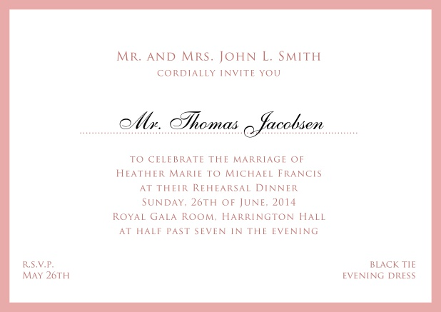 Online white classic invitation card with red border and name of recipient. Pink.