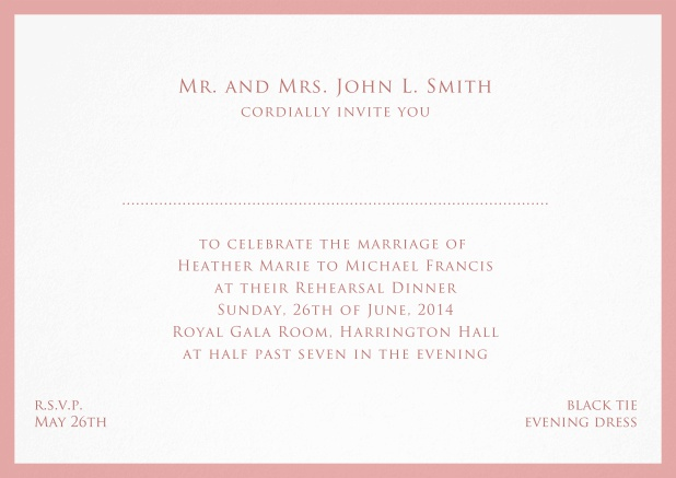 Card with frame and place for guest's names - available in different colors. Pink.