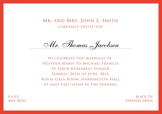 Online white classic invitation card with red border and name of recipient. Red.