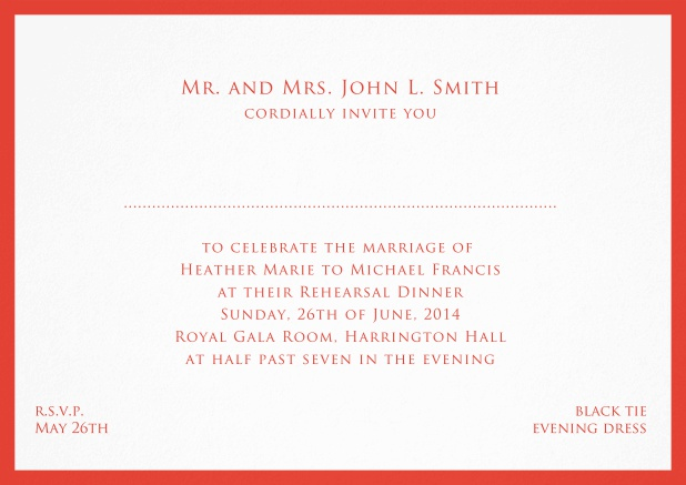 Card with frame and place for guest's names - available in different colors. Red.