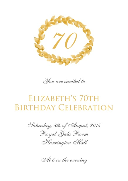 Online 70th Birthday Invitation Card With Golden Wreath