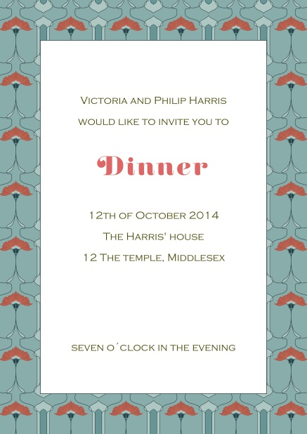 Online dinner invitation card blue and red frame.