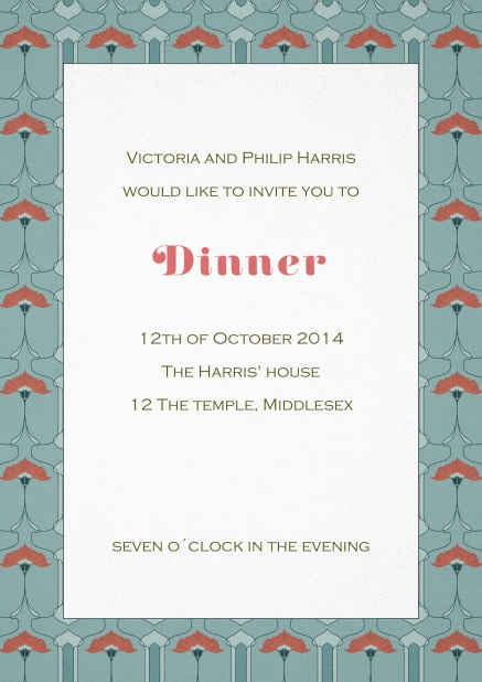 Dinner invitation card with art nouveau style frame and editable text.