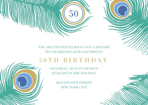 Online Card With Colorful Peacock Feathers For 50th Birthday
