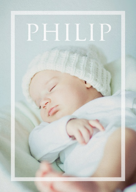 Christening invitation card with large photo, transparent frame and editable name and text for the invitation text. Navy.