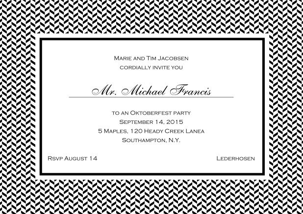 Classic online invitation with thin waves frame, editable text and line for personal addressing. Black.