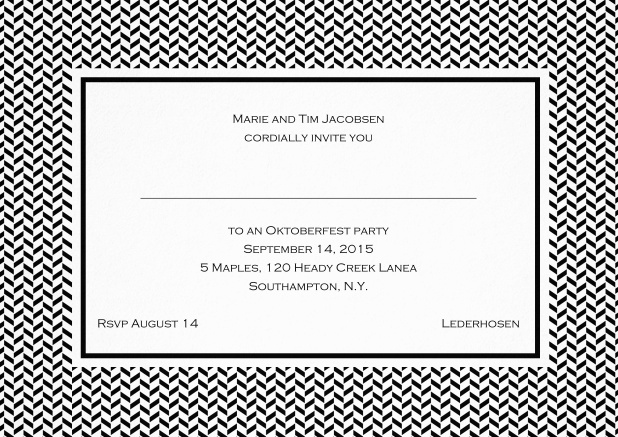 Classic invitation with thin waves frame, editable text and line for personal addressing. Black.