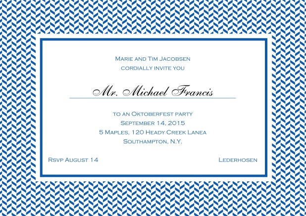 Classic online invitation with thin waves frame, editable text and line for personal addressing. Blue.