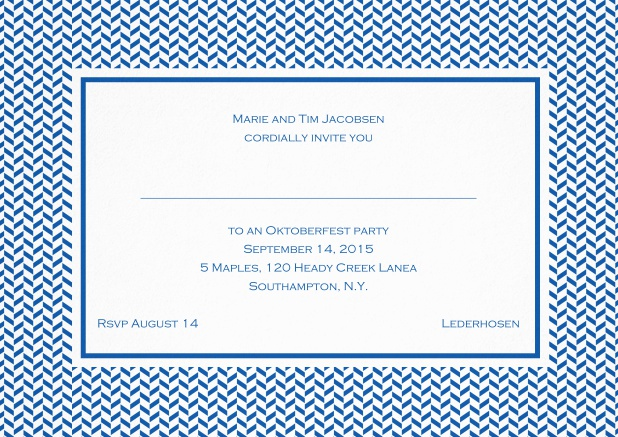 Classic invitation with thin waves frame, editable text and line for personal addressing. Blue.